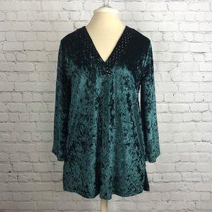Emerald green crushed velvet top